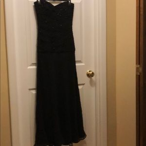Strapless long evening gown